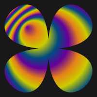 Radial gradient, linear color interpolation