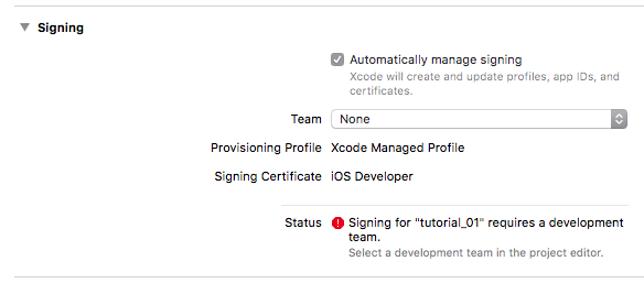 Select a valid developer certificate, before