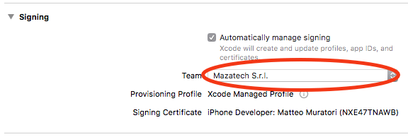 Select a valid developer certificate, after