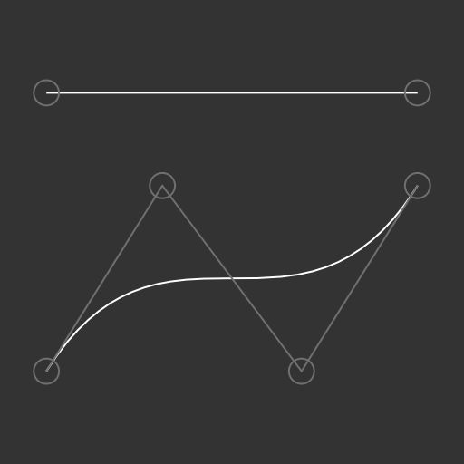 The text routes: a line and a cubic Bézier curve